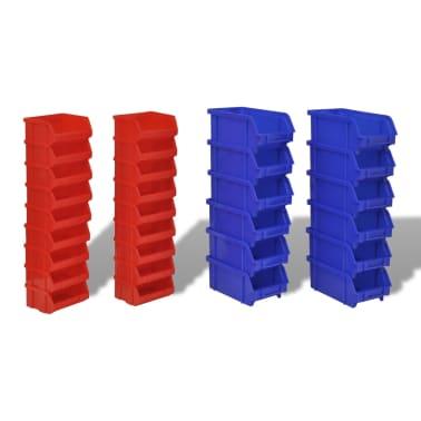 vidaXL Contenitore Plastica per Garage da Parete Set 30 pz Blu e Rosso[3/6]