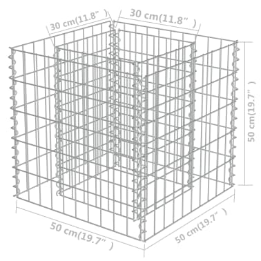 vidaXL Jardinera de gaviones de acero 50x50x50 cm[7/7]