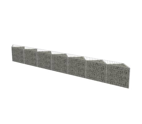 vidaXL Gabion Wall Galvanised Steel 450x30x50 cm