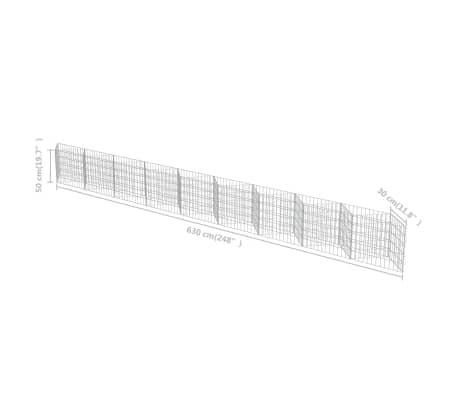 "vidaXL Gabion Wall Galvanized Steel 248""x11.8""x19.7""[7/7]"