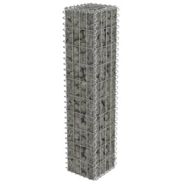 "vidaXL Gabion Wall with Covers Galvanized Steel 7.87""x7.87""x39.4""[3/5]"