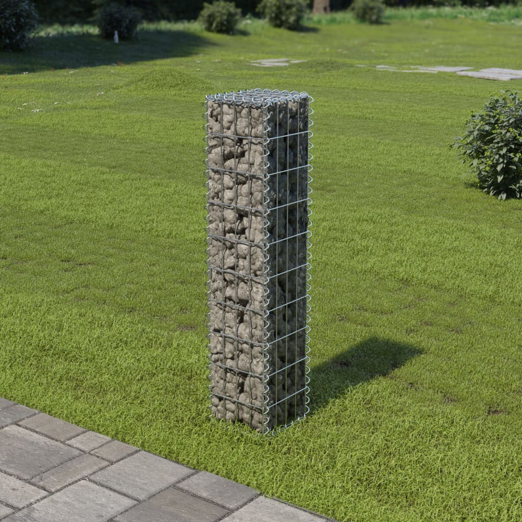 Gabionová zeď s víky z pozinkované oceli 20 x 20 x 100 cm