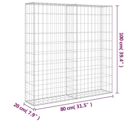 "vidaXL Gabion Wall with Covers Galvanized Steel 31.5""x7.87""x39.4""[6/6]"