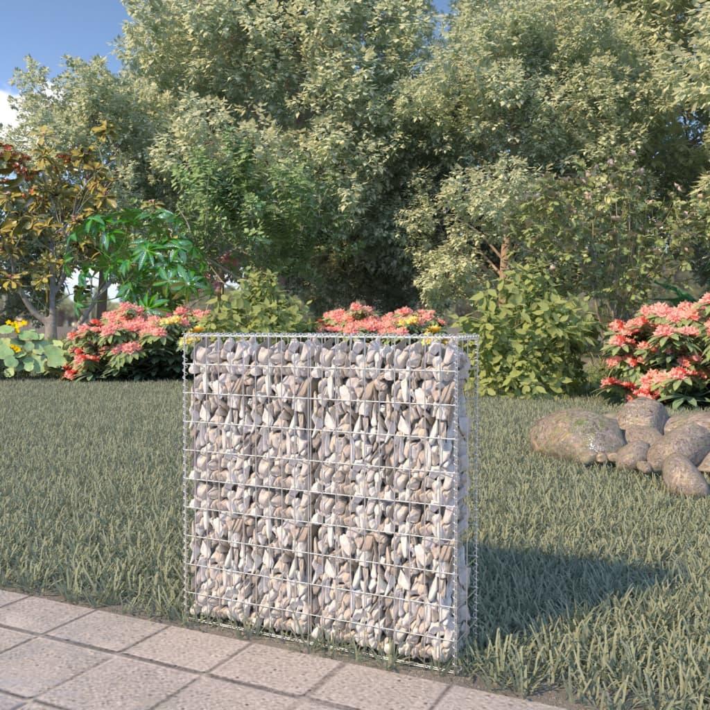 vidaXL Perete gabion cu capace, 80 x 20 x 100 cm, oțel galvanizat poza vidaxl.ro
