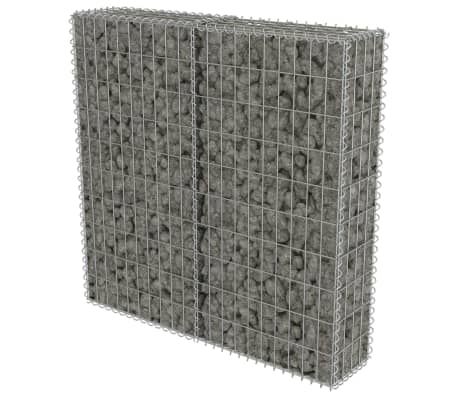 "vidaXL Gabion Wall with Covers Galvanized Steel 39.4""x7.87""x39.4""[2/6]"
