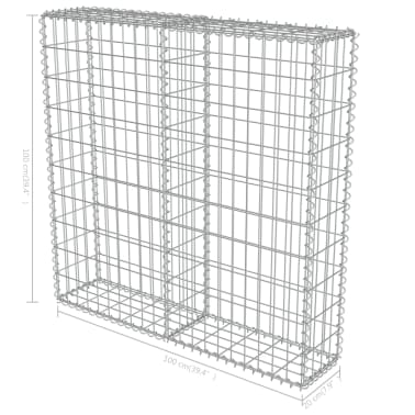 "vidaXL Gabion Wall with Covers Galvanized Steel 39.4""x7.87""x39.4""[6/6]"
