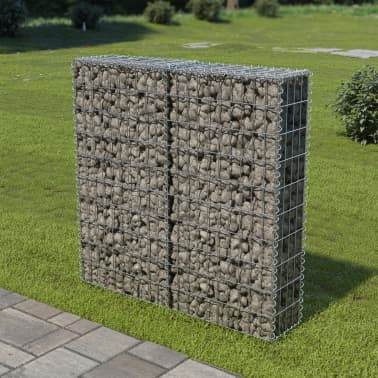 "vidaXL Gabion Wall with Covers Galvanized Steel 39.4""x7.87""x39.4""[1/6]"