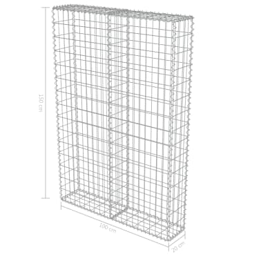 "vidaXL Gabion Wall with Covers Galvanized Steel 39.4""x7.87""x59""[6/6]"