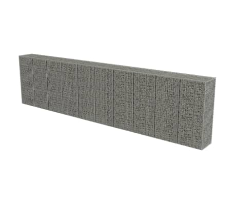 "vidaXL Gabion Wall with Covers Galvanized Steel 236""x19.7""x59"""