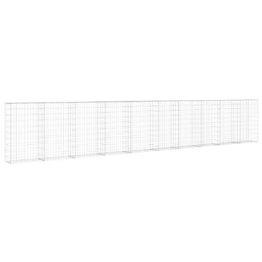 "vidaXL Gabion Wall with Covers Galvanized Steel 236""x11.8""x39.4""[3/6]"