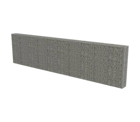 "vidaXL Gabion Wall with Covers Galvanized Steel 236""x11.8""x59"""