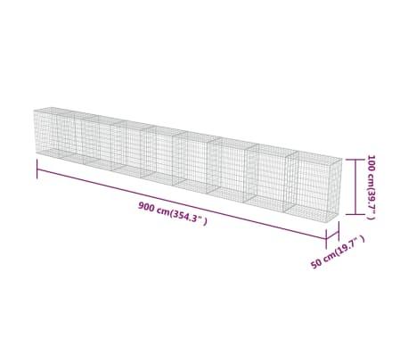 "vidaXL Gabion Wall with Covers Galvanized Steel 354""x19.7""x39.4""[6/6]"