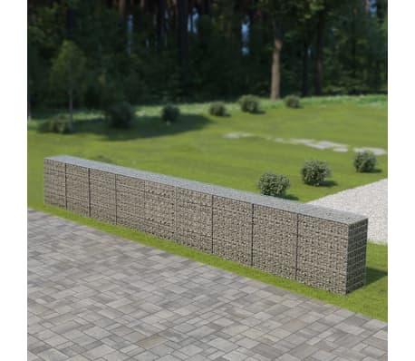 "vidaXL Gabion Wall with Covers Galvanized Steel 354""x19.7""x39.4""[1/6]"