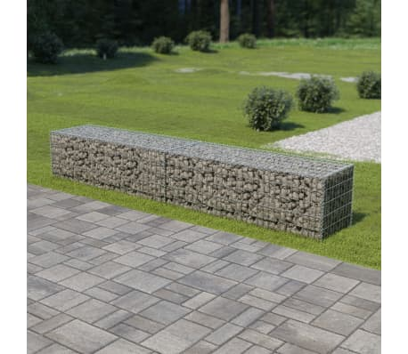 "vidaXL Gabion Wall with Covers Galvanized Steel 118""x19.7""x19.7""[1/6]"