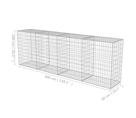 "vidaXL Gabion Wall with Covers Galvanized Steel 118""x19.7""x39.4""[5/5]"