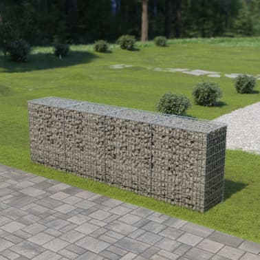 "vidaXL Gabion Wall with Covers Galvanized Steel 118""x19.7""x39.4""[1/5]"