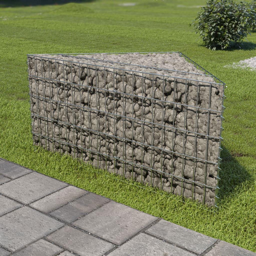 Gabionový vyvýšený záhon pozinkovaná ocel 75 x 75 x 50 cm