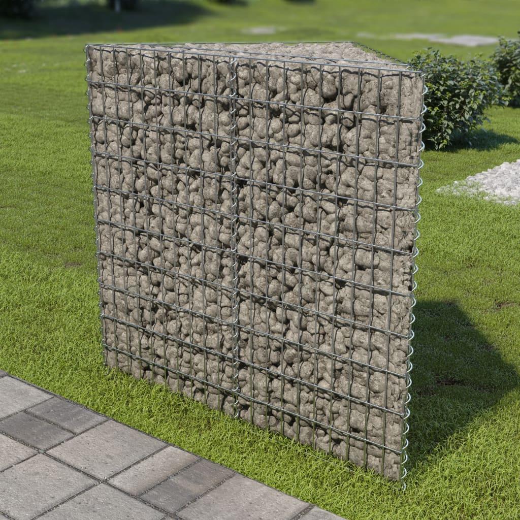 Gabionový vyvýšený záhon pozinkovaná ocel 75 x 75 x 100 cm