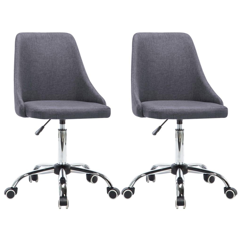vidaXL Καρέκλες Γραφείου Τροχήλατες 2 τεμ. Σκούρο Γκρι Υφασμάτινες