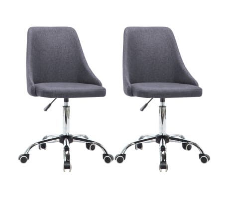 vidaXL Rullbara kontorsstolar 2 st tyg mörkgrå