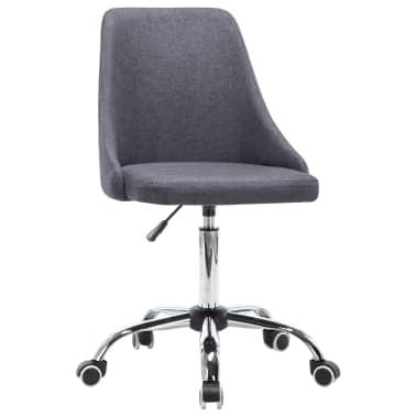vidaXL Biuro kėdės su ratukais, 2 vnt., tamsiai pilkos, audinys[2/8]