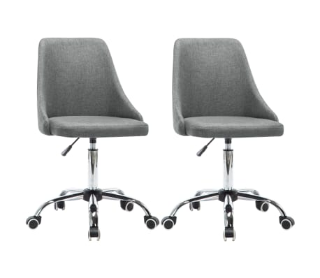 vidaXL Krzesła biurowe na kółkach, 2 szt., tkanina, jasnoszare[1/8]