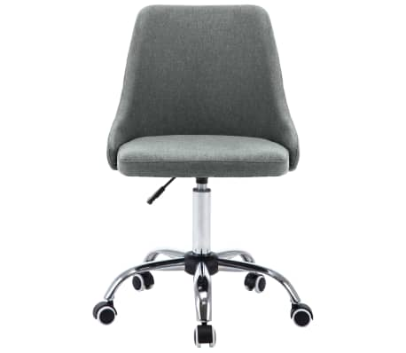 vidaXL Krzesła biurowe na kółkach, 2 szt., tkanina, jasnoszare[3/8]