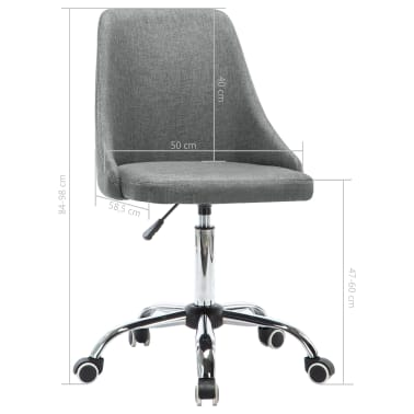 vidaXL Krzesła biurowe na kółkach, 2 szt., tkanina, jasnoszare[8/8]
