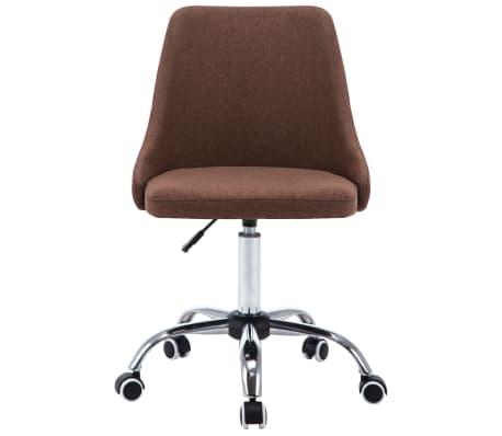vidaXL Biuro kėdės su ratukais, 2vnt., rudos, audinys[3/8]