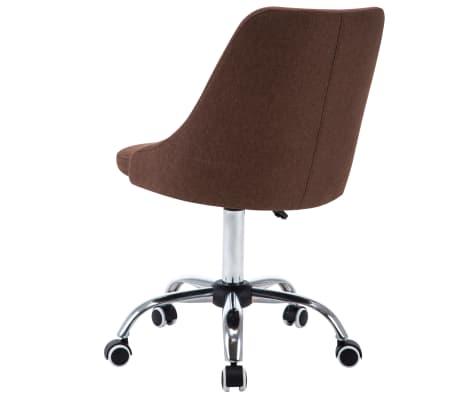 vidaXL Biuro kėdės su ratukais, 2vnt., rudos, audinys[4/8]