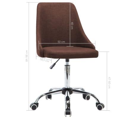 vidaXL Chaises de bureau roulantes 2 pcs Tissu Marron[8/8]