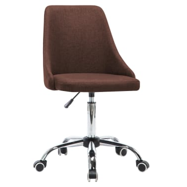 vidaXL Biuro kėdės su ratukais, 2vnt., rudos, audinys[2/8]