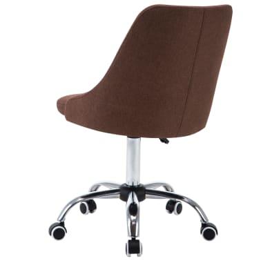vidaXL Chaises de bureau roulantes 2 pcs Tissu Marron[4/8]