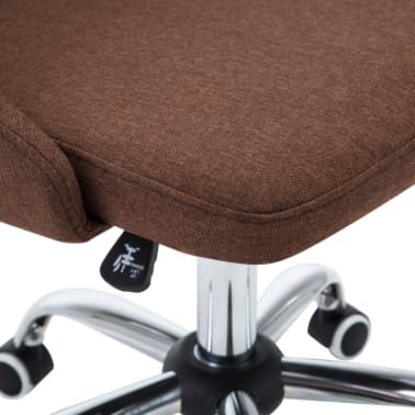 vidaXL Biuro kėdės su ratukais, 2vnt., rudos, audinys[6/8]