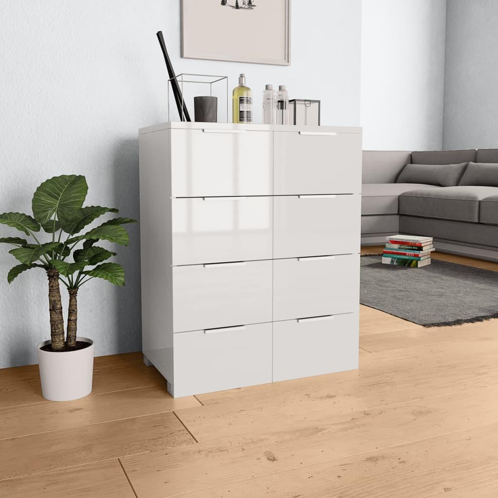 vidaXL Servantă, alb foarte lucios, 60 x 35 x 76 cm, PAL poza 2021 vidaXL