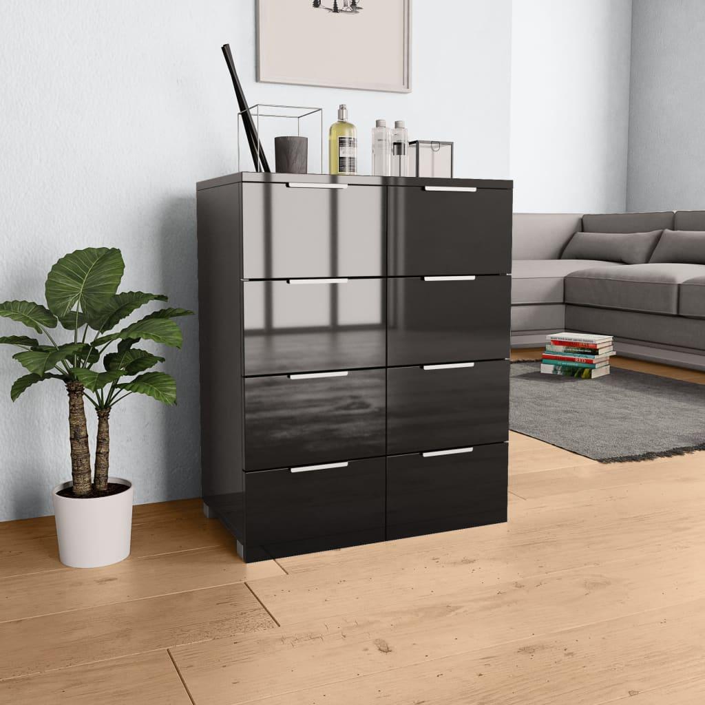 vidaXL Servantă, negru extralucios, 60x35x76 cm, PAL poza 2021 vidaXL