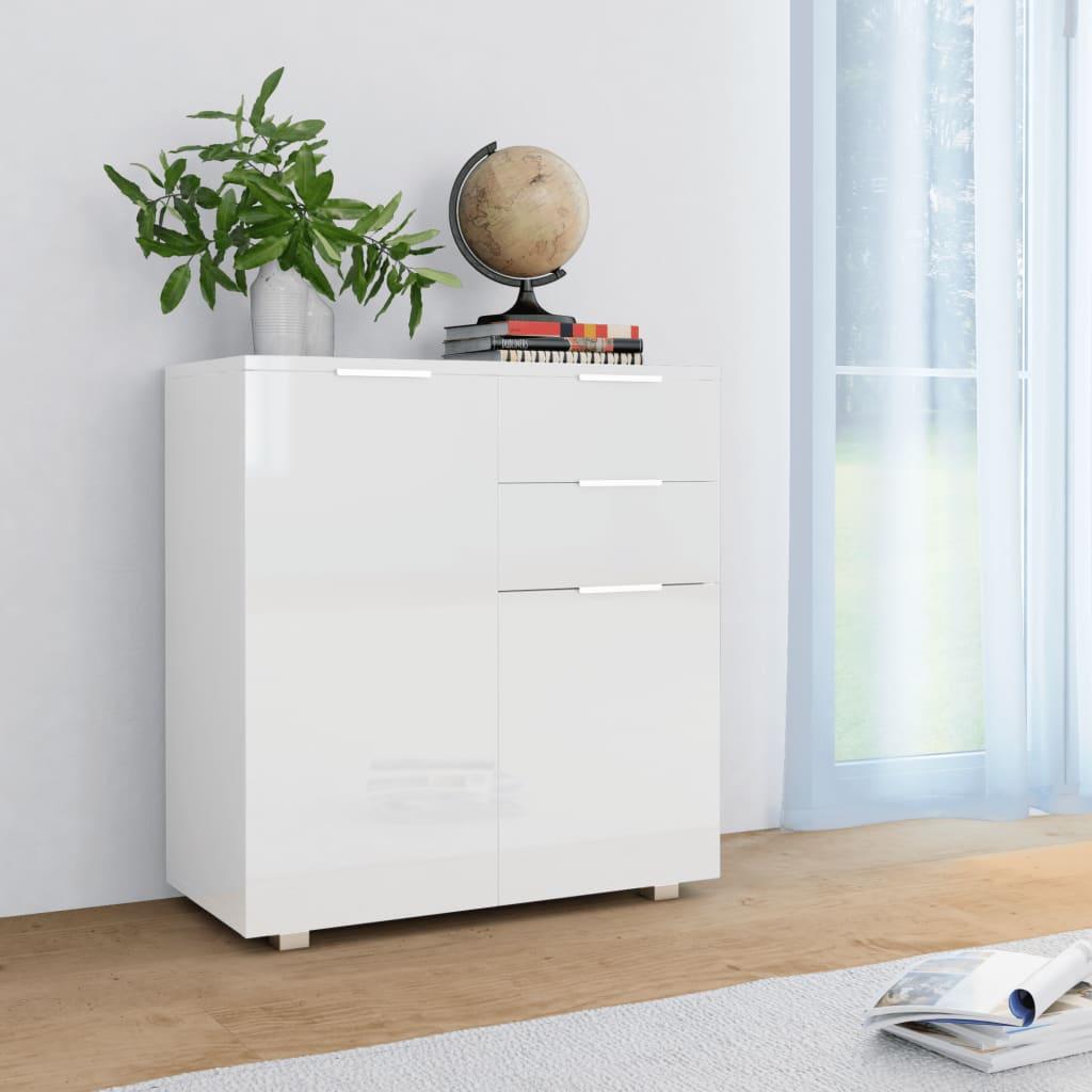 vidaXL Příborník bílý s vysokým leskem 71 x 35 x 76 cm dřevotříska