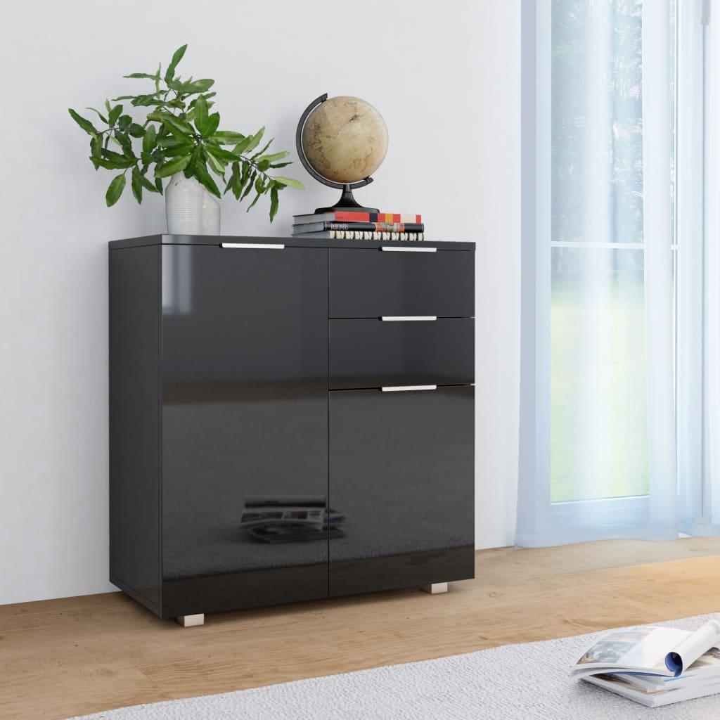 vidaXL Příborník černý s vysokým leskem 71 x 35 x 76 cm dřevotříska