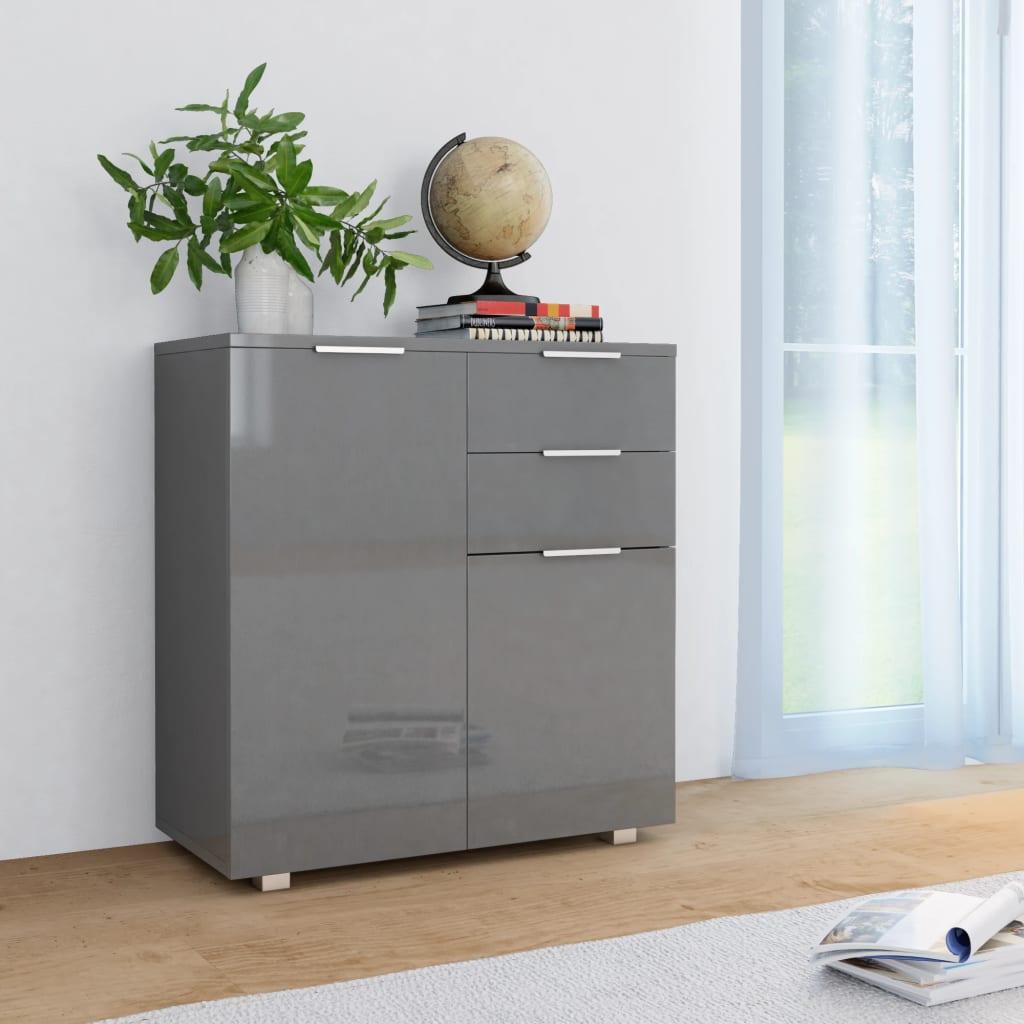 vidaXL Příborník šedý s vysokým leskem 71 x 35 x 76 cm dřevotříska