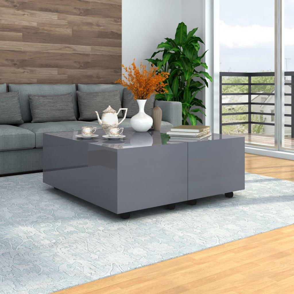 vidaXL Salontafel 100x100x35 cm hoogglans grijs