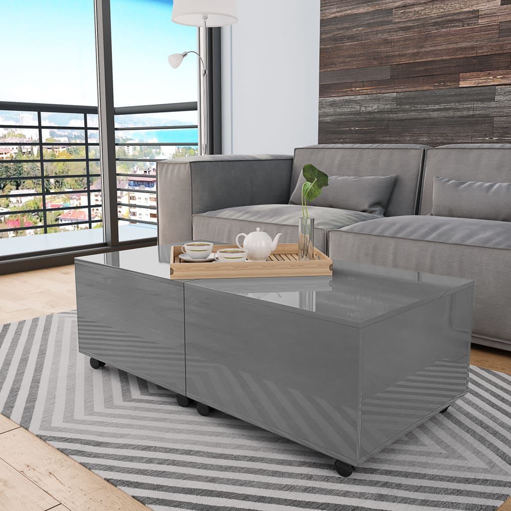Salontafel 120x60x35 cm hoogglans grijs