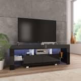 vidaXL TV Cabinet with LED Lights High Gloss Black 130x35x45 cm