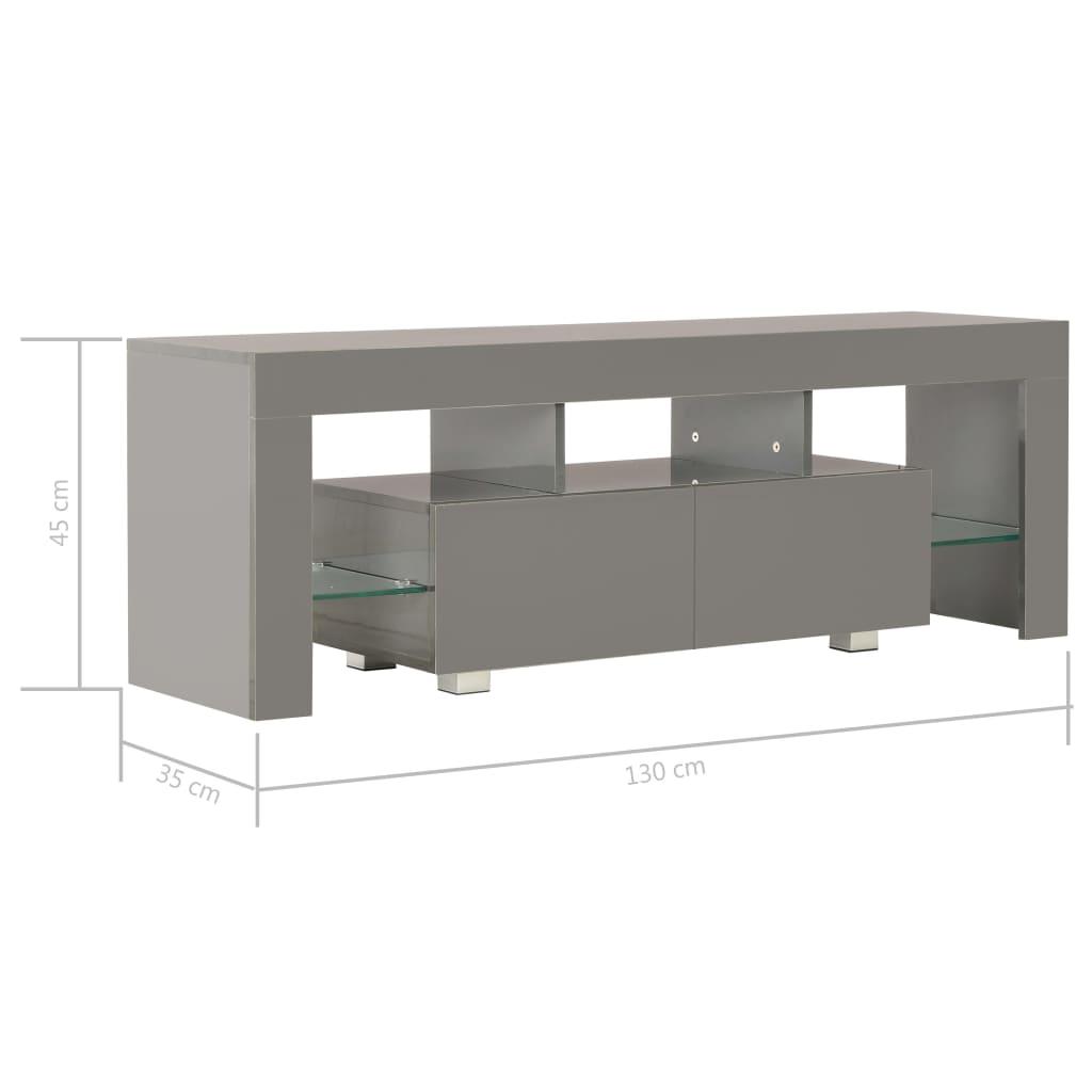 Tv-meubel met LED-verlichting 130x35x45 cm hoogglans grijs