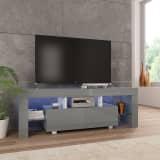 vidaXL TV Cabinet with LED Lights High Gloss Grey 130x35x45 cm