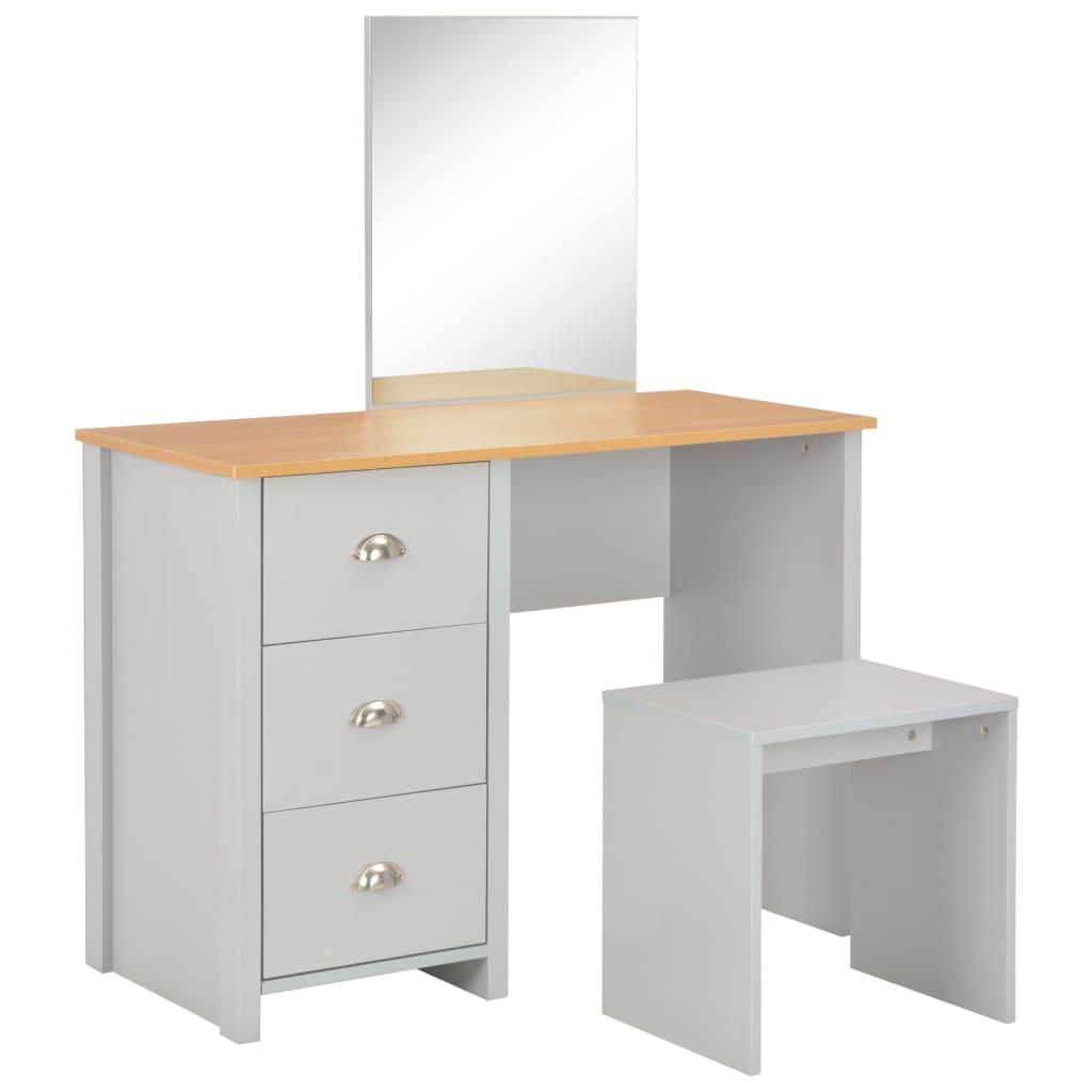 vidaXL Masă de toaletă cu oglindă și taburet, gri, 104x45x131 cm poza 2021 vidaXL