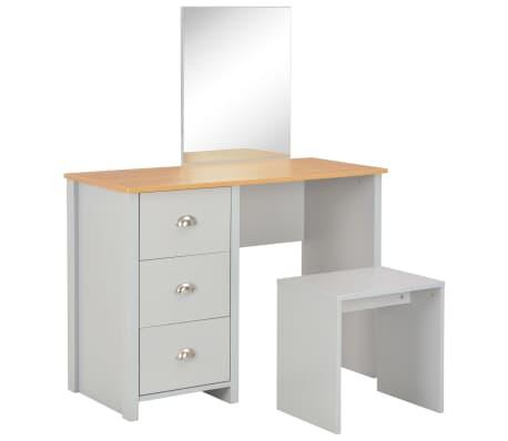 vidaXL Тоалетка с огледало и табуретка, сива, 104x45x131 см