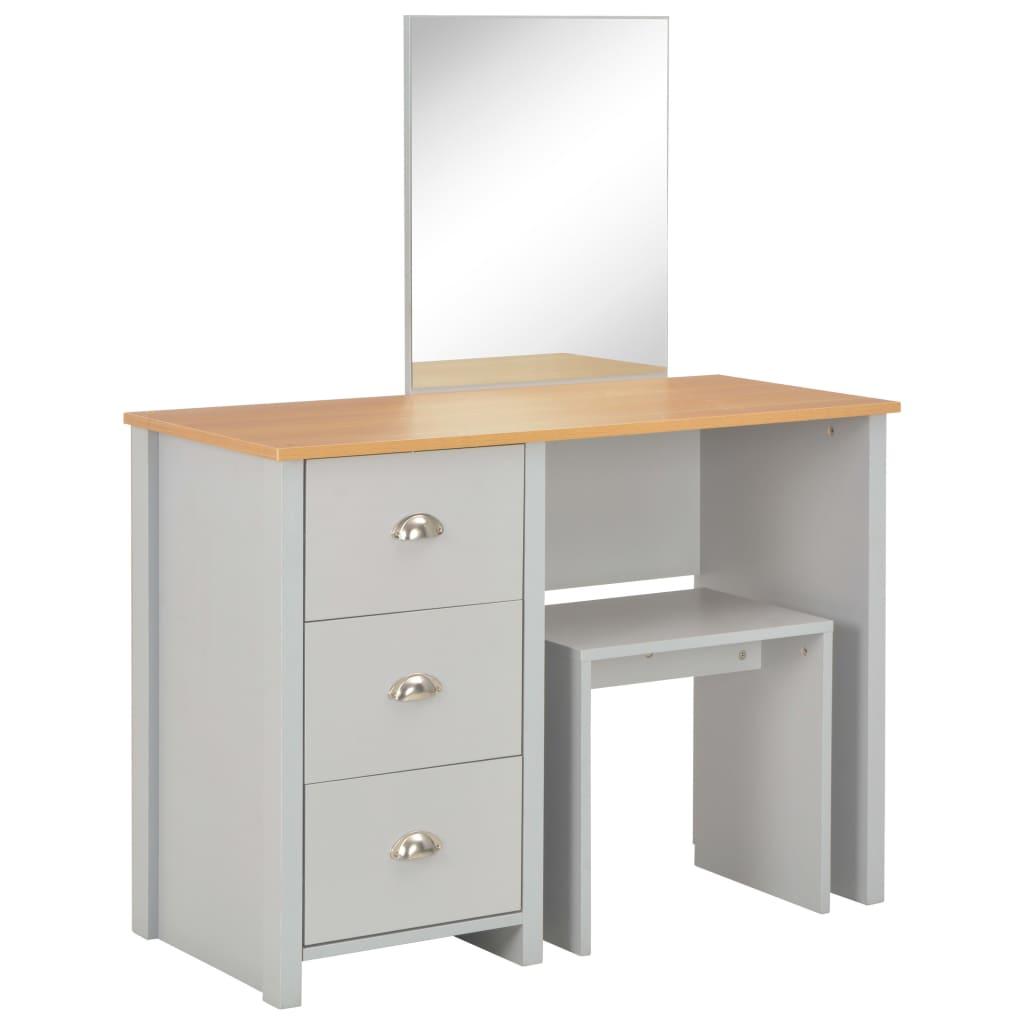 99283744 Schminktisch mit Spiegel und Hocker Grau 104 x 45 x 131 cm