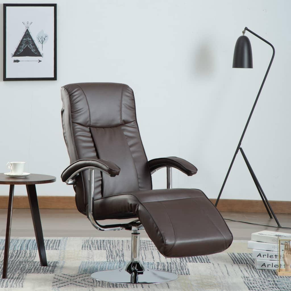 vidaXL Fotel telewizyjny, brązowy, sztuczna skóra