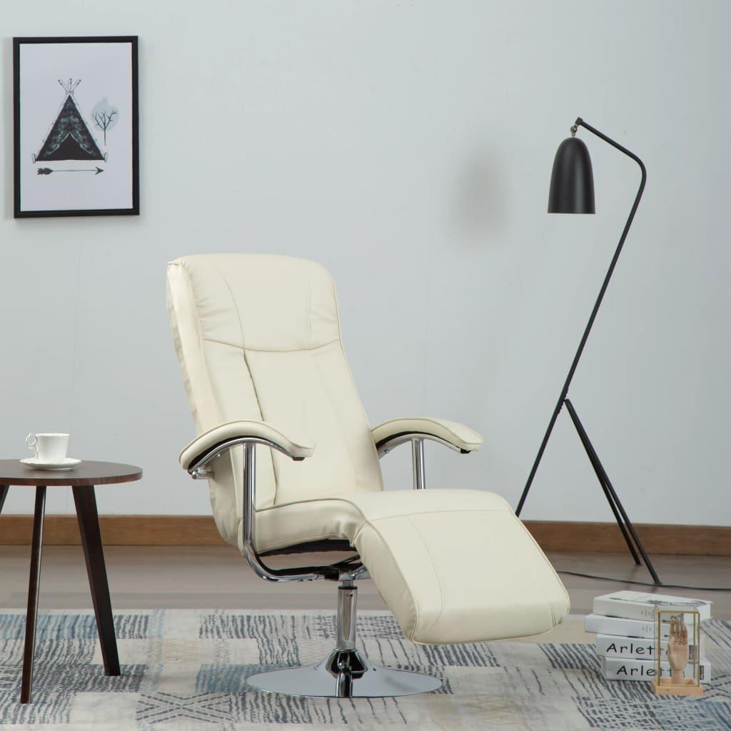 vidaXL Fotel telewizyjny, kremowy, sztuczna skóra