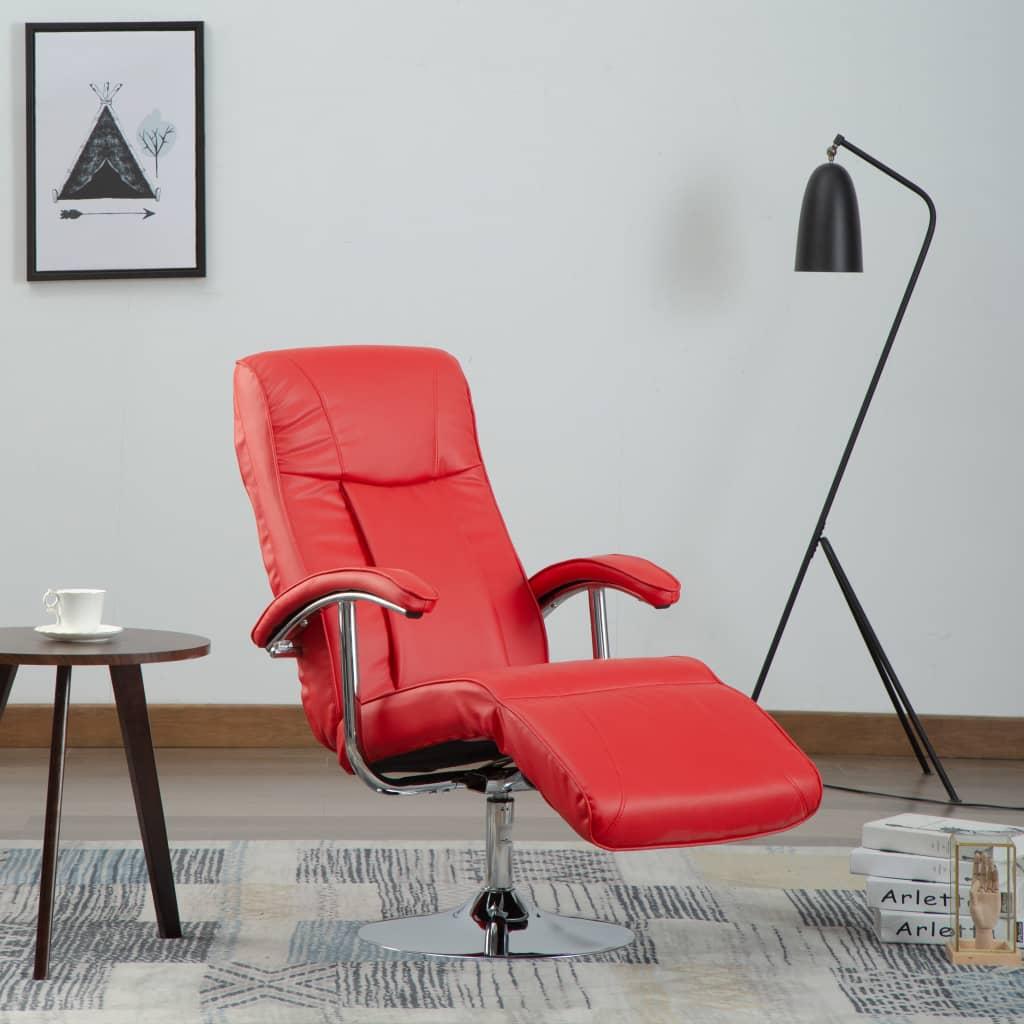 vidaXL Fotel telewizyjny, czerwony, sztuczna skóra